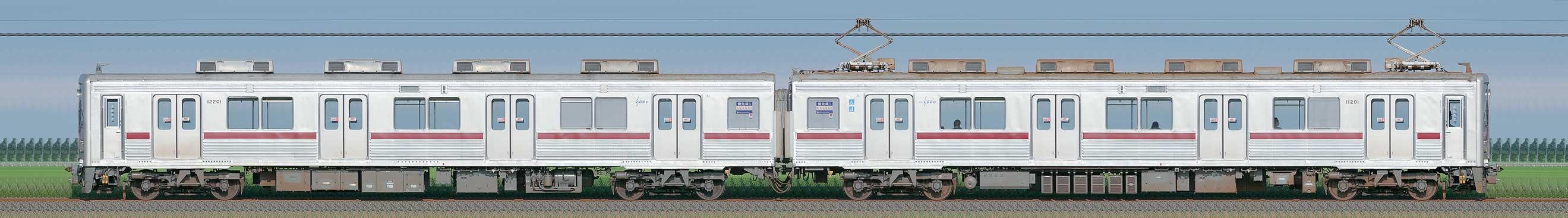 東武10000型11201編成(山側)の編成サイドビュー