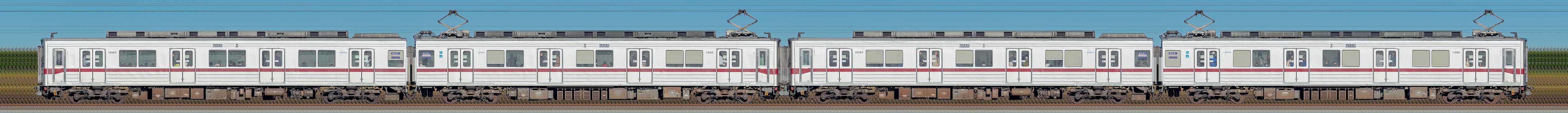 東武鉄道10030型11263編成+11265編成(山側)の編成サイドビュー