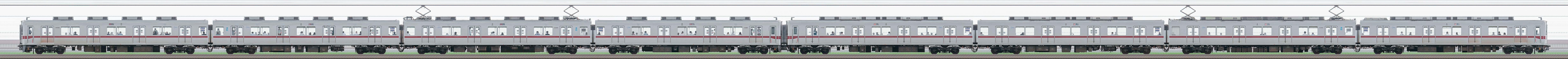 東武鉄道10030型11451編成+10080型11480編成(山側)の編成サイドビュー