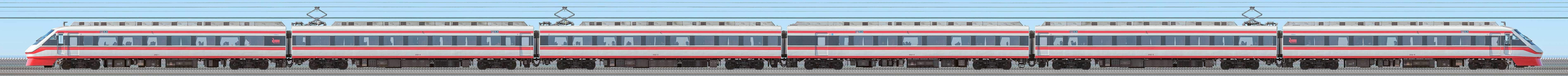 東武200型「りょうもう」202編成(海側)の編成サイドビュー