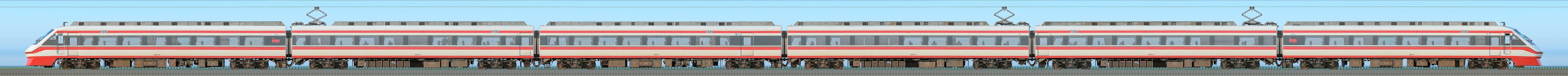 東武200型「りょうもう」205編成(山側)の編成サイドビュー