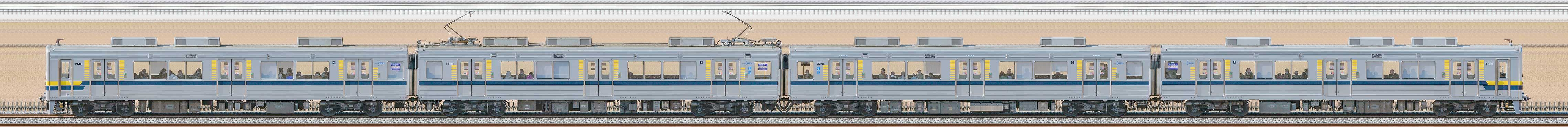 東武20400型21411編成(安全確認カメラ取付前・海側)の編成サイドビュー