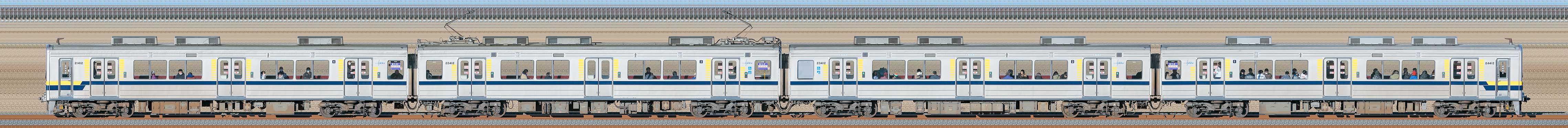 東武20400型21412編成(海側)の編成サイドビュー