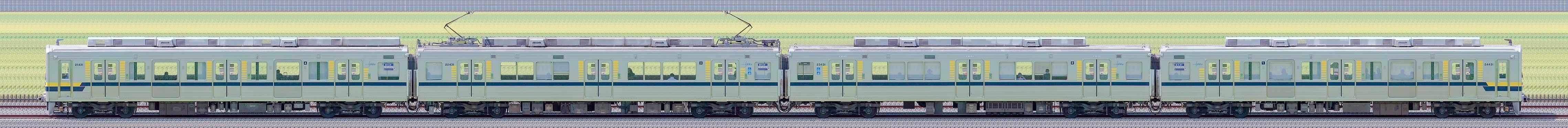 東武20400型21431編成(海側)の編成サイドビュー