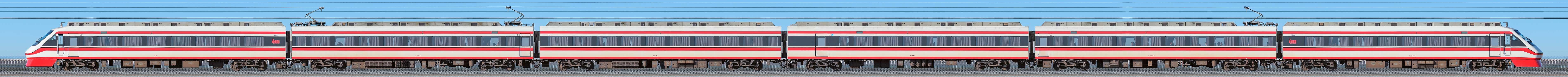 東武250型「りょうもう」251編成(海側)の編成サイドビュー
