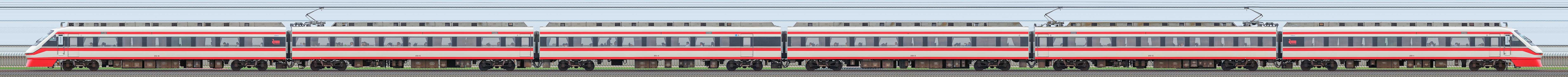 東武250型「りょうもう」251編成(山側)の編成サイドビュー