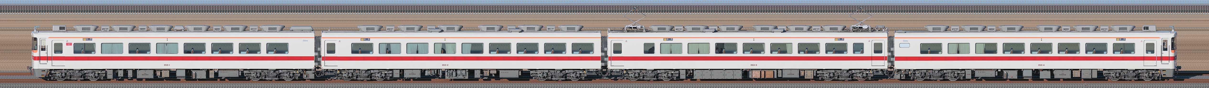 東武350型353編成(海側)の編成サイドビュー
