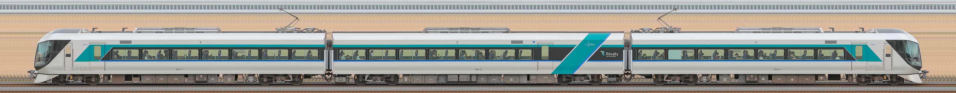 東武500系「リバティ」504編成(海側)の編成サイドビュー