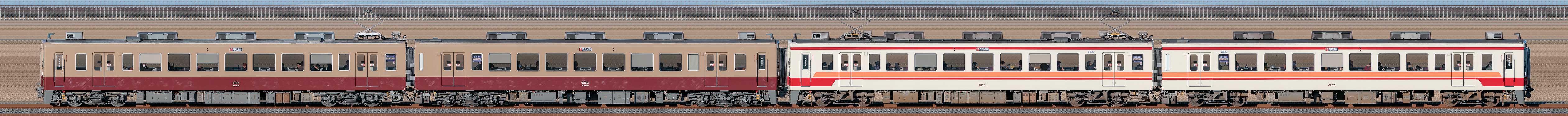 東武6050型6162編成+6176編成(海側)の編成サイドビュー
