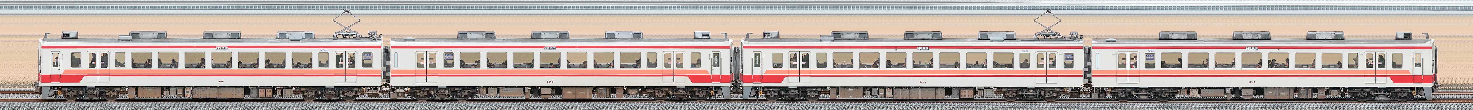 東武6050型6168編成+6170編成(海側)の編成サイドビュー