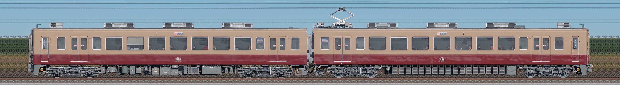 東武6050型6162編成「6000系リバイバルカラー」(山側)の編成サイドビュー