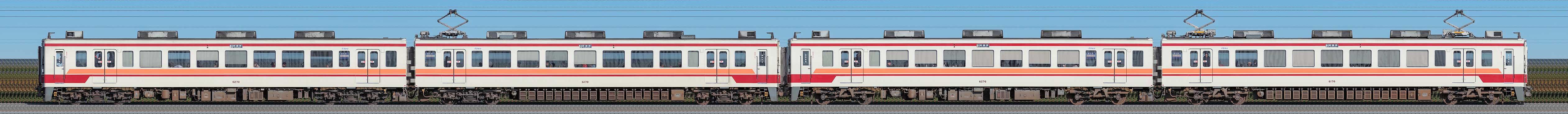 東武6050型6176編成+6170編成(山側)の編成サイドビュー