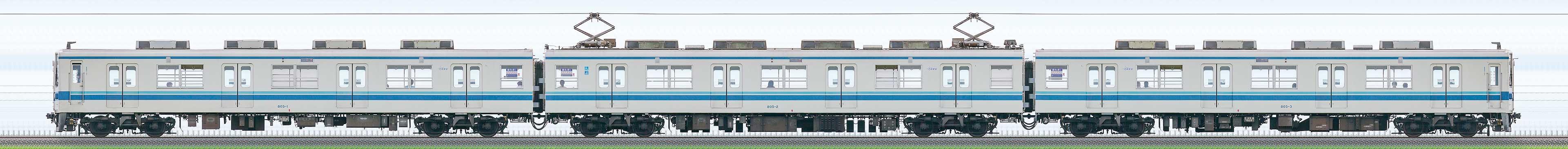 東武800型805編成(海側)の編成サイドビュー