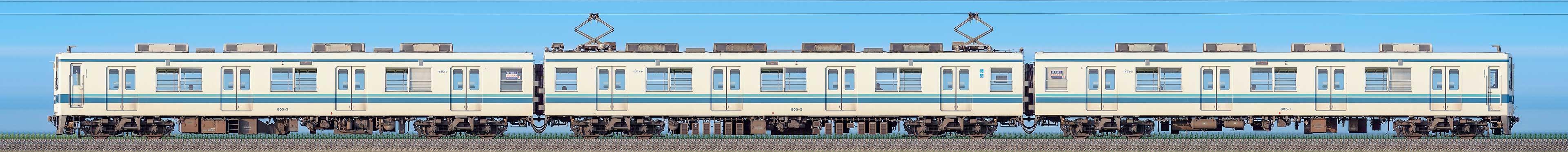 東武800型805編成(山側)の編成サイドビュー