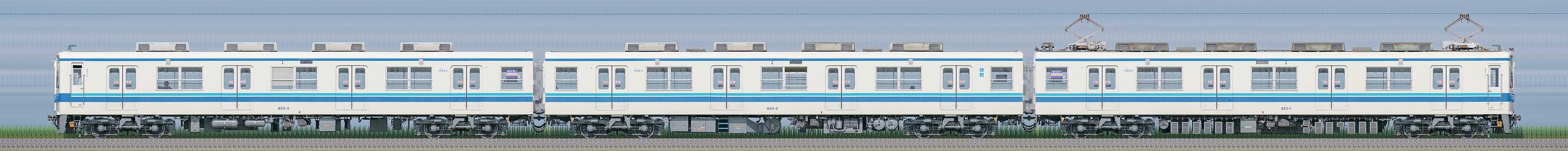 東武850型853編成(山側)の編成サイドビュー