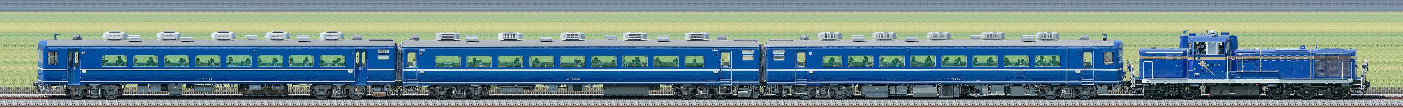 DE10 1109けん引『DE10北斗星カラーデビュー記念 東武鉄道をほぼ1日満喫する旅』ツアー列車(海側)の編成サイドビュー