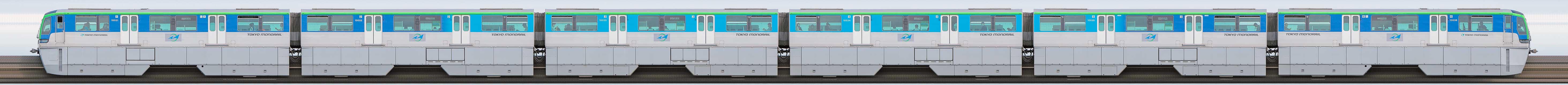 東京モノレール10000形10031編成(山側)の編成サイドビュー
