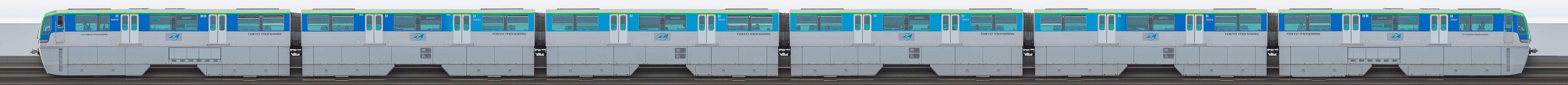 東京モノレール10000形10031編成(海側)の編成サイドビュー