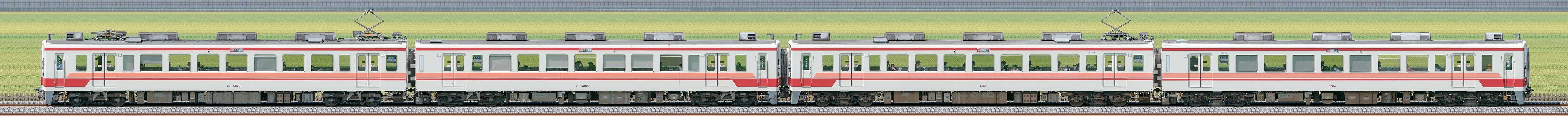 野岩6050系61102編成+東武6050型6164編成(海側)の編成サイドビュー