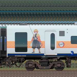 JR九州885系サハ885-303(「鬼滅の刃」ラッピング)