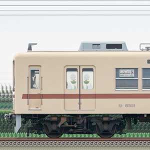 新京成8000形8512編成(茶色帯リバイバルカラー・山側)